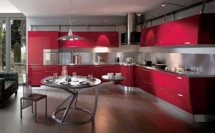 Μοντέρνα Κόκκινη Κουζίνα