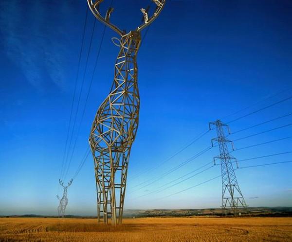 Πυλώνες ηλεκτρικού ρεύματος σε σχήμα ελαφιού